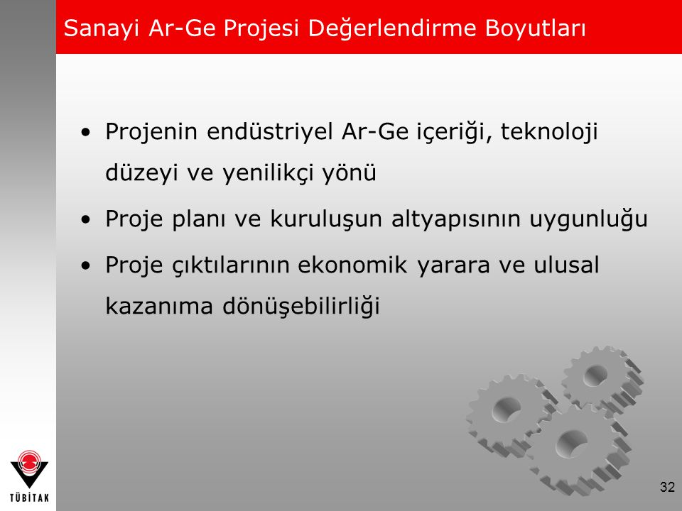 32 Projenin endüstriyel Ar-Ge içeriği, teknoloji düzeyi ve yenilikçi yönü Proje planı ve kuruluşun altyapısının uygunluğu Proje çıktılarının ekonomik