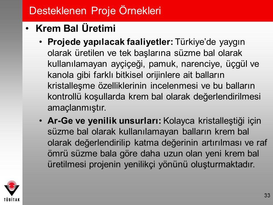 Desteklenen Proje Örnekleri Krem Bal Üretimi Projede yapılacak faaliyetler: Türkiye'de yaygın olarak üretilen ve tek başlarına süzme bal olarak kullan