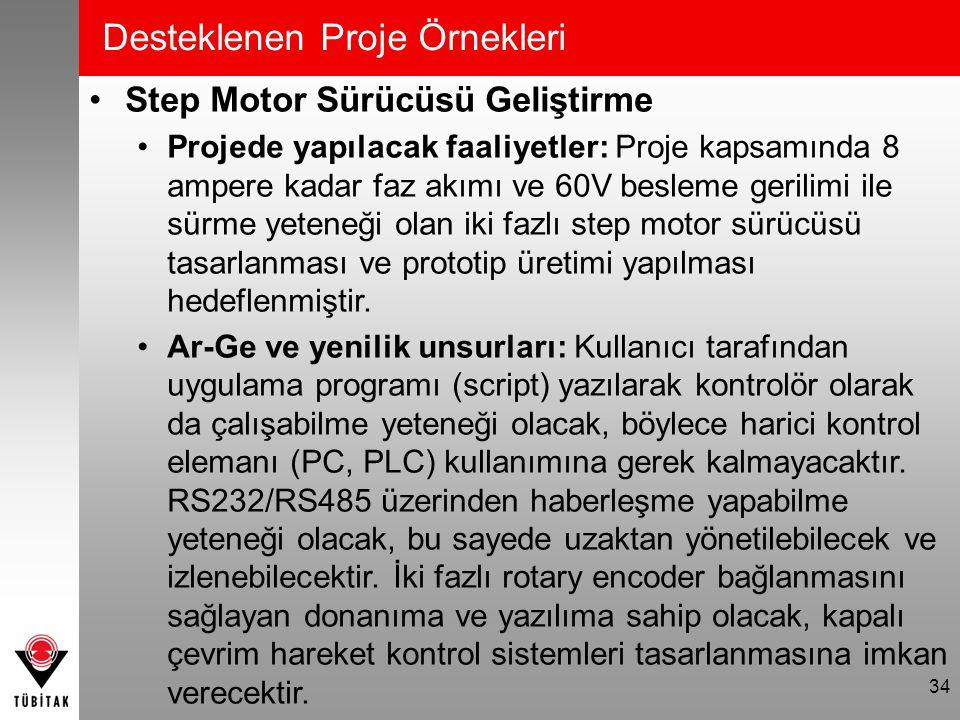 Desteklenen Proje Örnekleri Step Motor Sürücüsü Geliştirme Projede yapılacak faaliyetler: Proje kapsamında 8 ampere kadar faz akımı ve 60V besleme ger