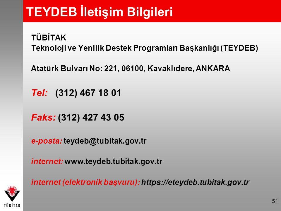 TEYDEB İletişim Bilgileri TÜBİTAK Teknoloji ve Yenilik Destek Programları Başkanlığı (TEYDEB) Atatürk Bulvarı No: 221, 06100, Kavaklıdere, ANKARA Tel: