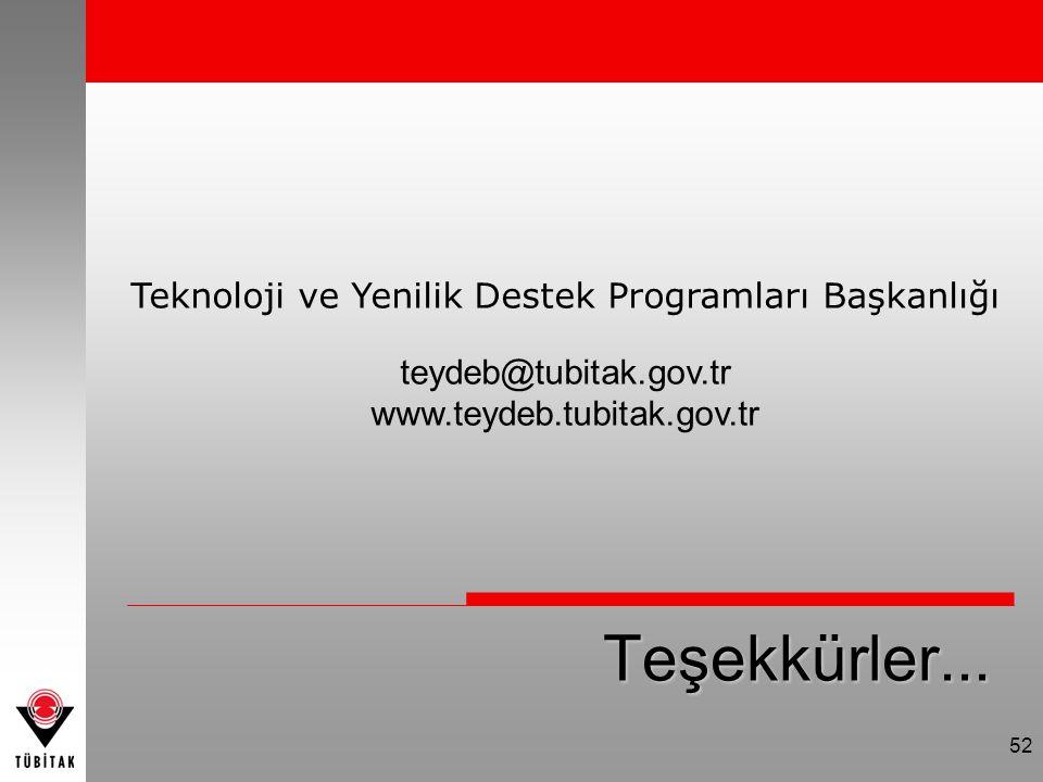 Teşekkürler... Teknoloji ve Yenilik Destek Programları Başkanlığı teydeb@tubitak.gov.tr www.teydeb.tubitak.gov.tr 52
