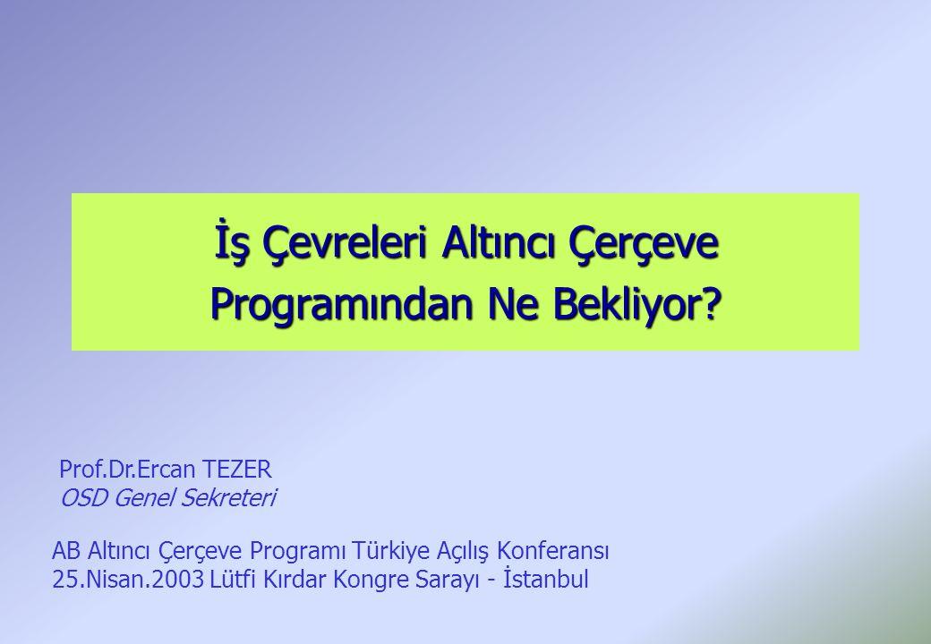 İş Çevreleri Altıncı Çerçeve Programından Ne Bekliyor? AB Altıncı Çerçeve Programı Türkiye Açılış Konferansı 25.Nisan.2003 Lütfi Kırdar Kongre Sarayı