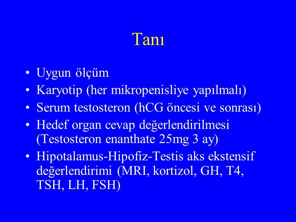 Tanı Uygun ölçüm Karyotip (her mikropenisliye yapılmalı) Serum testosteron (hCG öncesi ve sonrası) Hedef organ cevap değerlendirilmesi (Testosteron enanthate 25mg 3 ay) Hipotalamus-Hipofiz-Testis aks ekstensif değerlendirimi (MRI, kortizol, GH, T4, TSH, LH, FSH)
