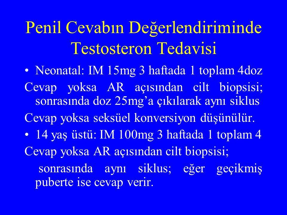 Penil Cevabın Değerlendiriminde Testosteron Tedavisi Neonatal: IM 15mg 3 haftada 1 toplam 4doz Cevap yoksa AR açısından cilt biopsisi; sonrasında doz 25mg'a çıkılarak aynı siklus Cevap yoksa seksüel konversiyon düşünülür.