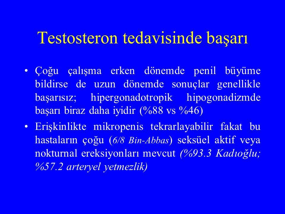 Testosteron tedavisinde başarı Çoğu çalışma erken dönemde penil büyüme bildirse de uzun dönemde sonuçlar genellikle başarısız; hipergonadotropik hipogonadizmde başarı biraz daha iyidir (%88 vs %46) Erişkinlikte mikropenis tekrarlayabilir fakat bu hastaların çoğu ( 6/8 Bin-Abbas ) seksüel aktif veya nokturnal ereksiyonları mevcut (%93.3 Kadıoğlu; %57.2 arteryel yetmezlik)