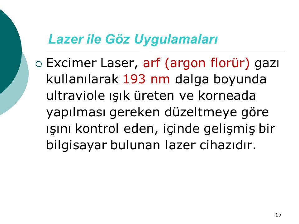 15 Lazer ile Göz Uygulamaları  Excimer Laser, arf (argon florür) gazı kullanılarak 193 nm dalga boyunda ultraviole ışık üreten ve korneada yapılması