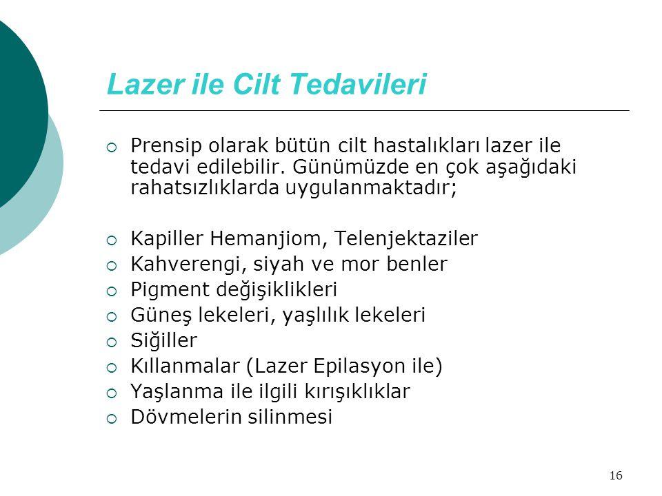 16 Lazer ile Cilt Tedavileri  Prensip olarak bütün cilt hastalıkları lazer ile tedavi edilebilir. Günümüzde en çok aşağıdaki rahatsızlıklarda uygulan