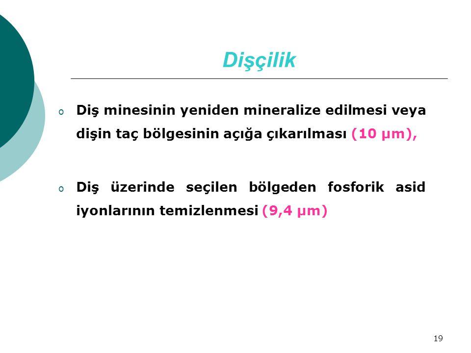19 Dişçilik o Diş minesinin yeniden mineralize edilmesi veya dişin taç bölgesinin açığa çıkarılması (10 µm), o Diş üzerinde seçilen bölgeden fosforik