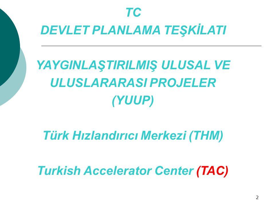 2 TC DEVLET PLANLAMA TEŞKİLATI YAYGINLAŞTIRILMIŞ ULUSAL VE ULUSLARARASI PROJELER (YUUP) Türk Hızlandırıcı Merkezi (THM) Turkish Accelerator Center (TA