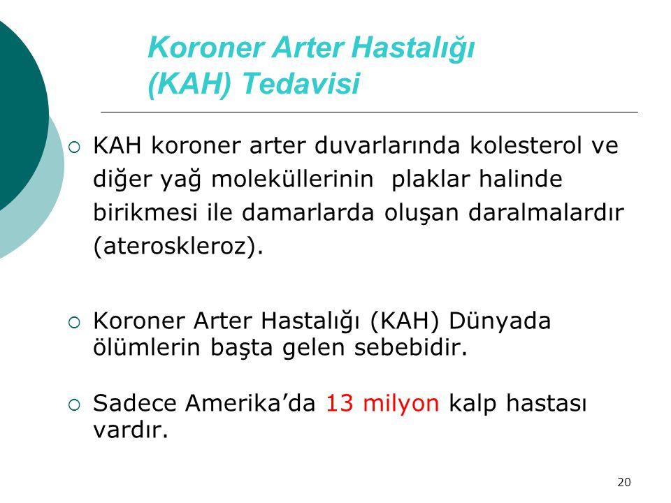 20 Koroner Arter Hastalığı (KAH) Tedavisi  KAH koroner arter duvarlarında kolesterol ve diğer yağ moleküllerinin plaklar halinde birikmesi ile damarl