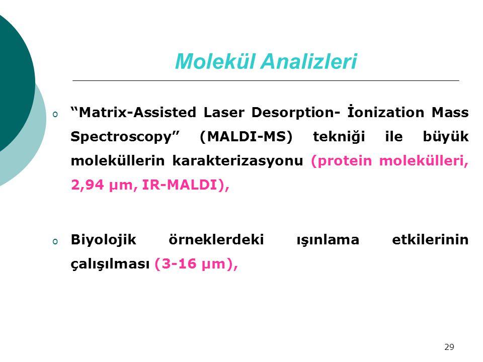 """29 Molekül Analizleri o """"Matrix-Assisted Laser Desorption- İonization Mass Spectroscopy"""" (MALDI-MS) tekniği ile büyük moleküllerin karakterizasyonu (p"""