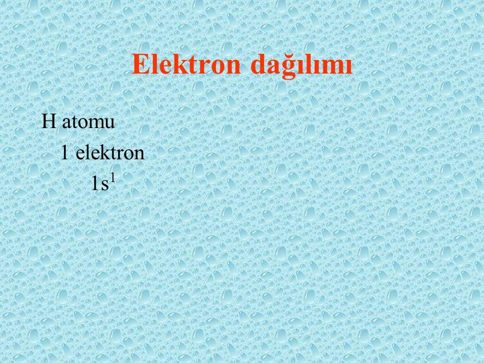 Elektron dağılımı H atomu 1 elektron 1s 1