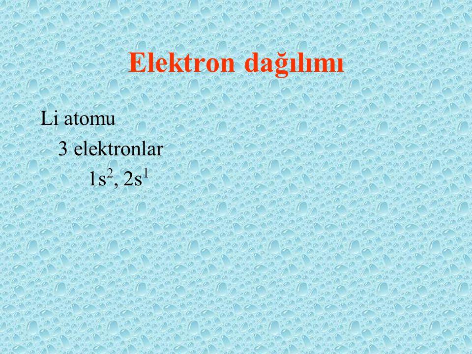 Elektron dağılımı Li atomu 3 elektronlar 1s 2, 2s 1