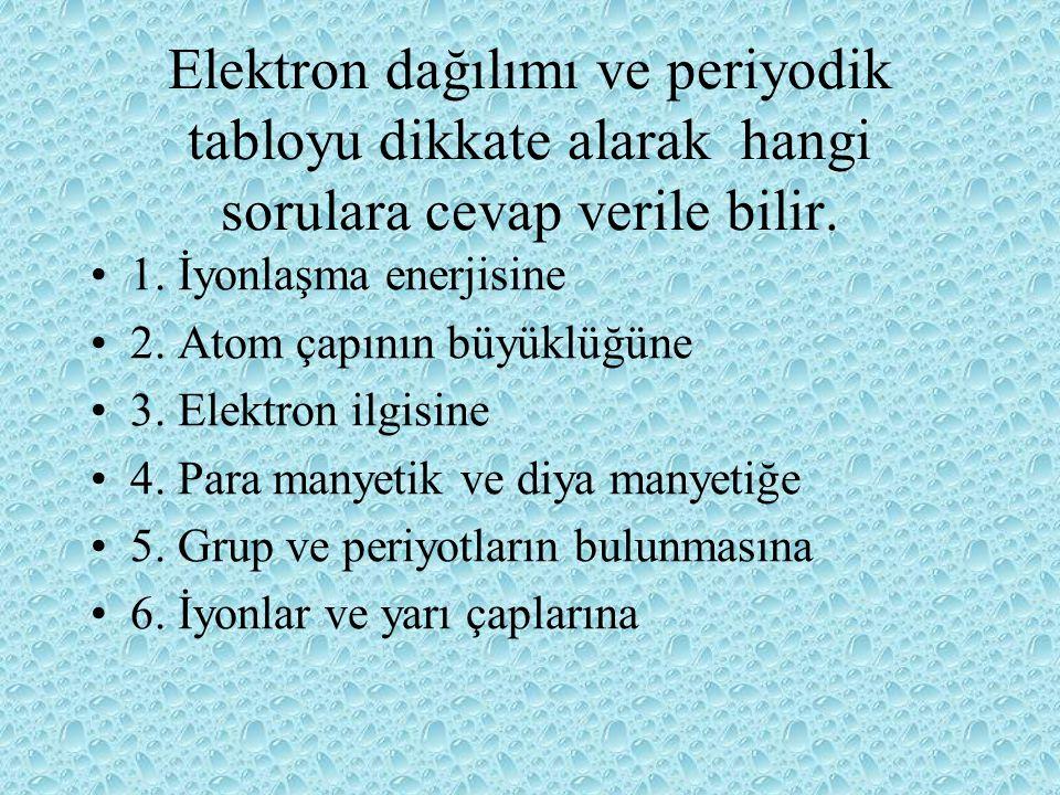 Elektron dağılımı Bir elektronun yerini belirlemek için, dört kuantum sayısı gerekir.