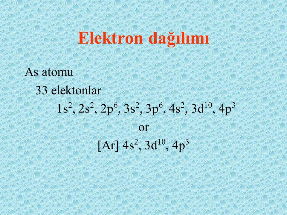 Elektron dağılımı As atomu 33 elektonlar 1s 2, 2s 2, 2p 6, 3s 2, 3p 6, 4s 2, 3d 10, 4p 3 or [Ar] 4s 2, 3d 10, 4p 3