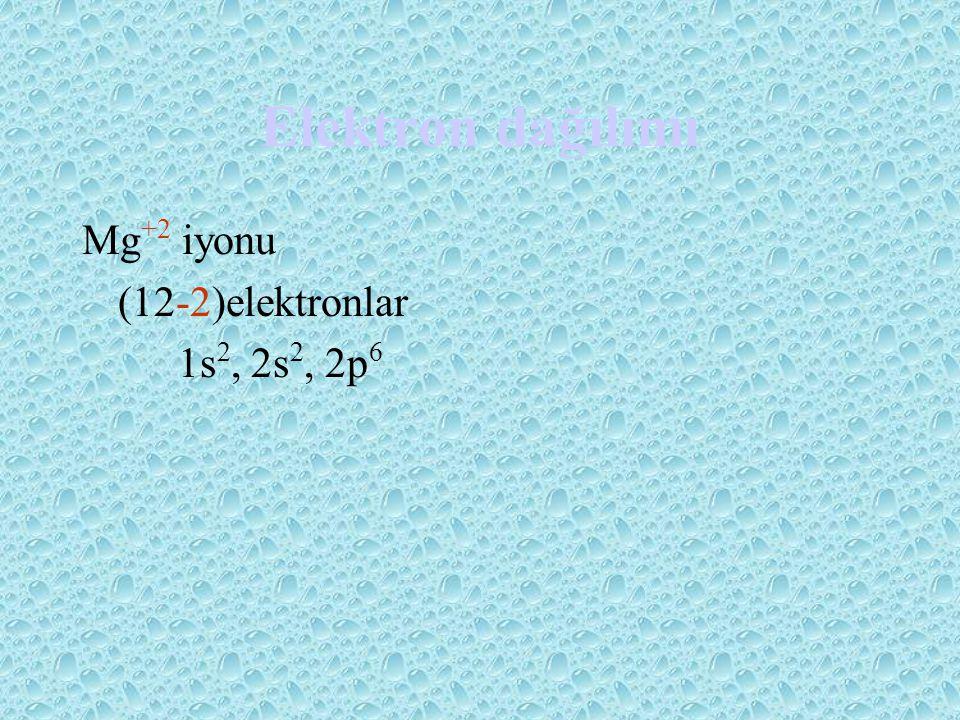 Elektron dağılımı Mg +2 iyonu (12-2)elektronlar 1s 2, 2s 2, 2p 6