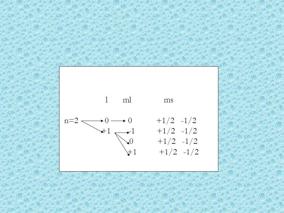 l ml ms n=2 0 0 +1/2 -1/2 +1 -1 +1/2 -1/2 0 +1/2 -1/2 +1 +1/2 -1/2