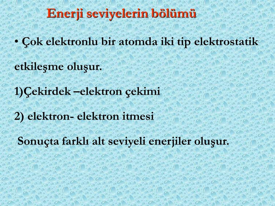 Enerji seviyelerin bölümü Çok elektronlu bir atomda iki tip elektrostatik etkileşme oluşur. 1)Çekirdek –elektron çekimi 2) elektron- elektron itmesi S