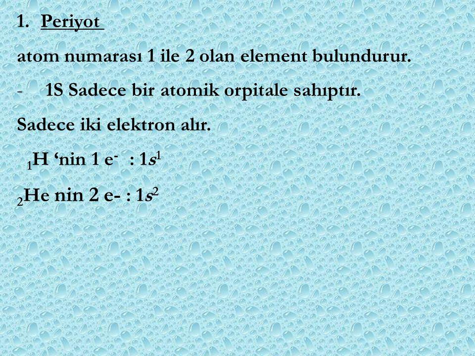 1.Periyot atom numarası 1 ile 2 olan element bulundurur. - 1S Sadece bir atomik orpitale sahıptır. Sadece iki elektron alır. 1 H 'nin 1 e - : 1s 1 2 H