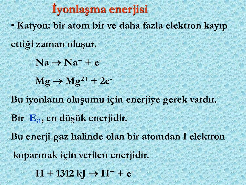 İyonlaşma enerjisi Katyon: bir atom bir ve daha fazla elektron kayıp ettiği zaman oluşur. Na  Na + + e - Mg  Mg 2+ + 2e - Bu iyonların oluşumu için
