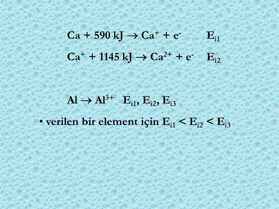 Ca + 590 kJ  Ca + + e - E i1 Ca + + 1145 kJ  Ca 2+ + e - E i2 Al  Al 3+ E i1, E i2, E i3 verilen bir element için E i1 < E i2 < E i3