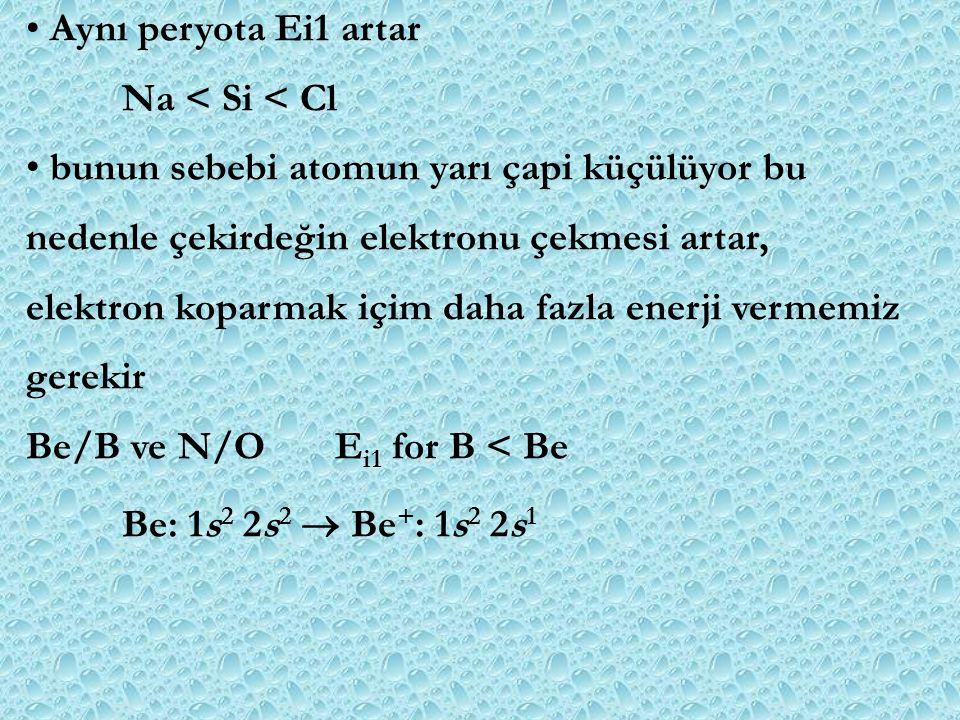 Aynı peryota Ei1 artar Na < Si < Cl bunun sebebi atomun yarı çapi küçülüyor bu nedenle çekirdeğin elektronu çekmesi artar, elektron koparmak içim daha