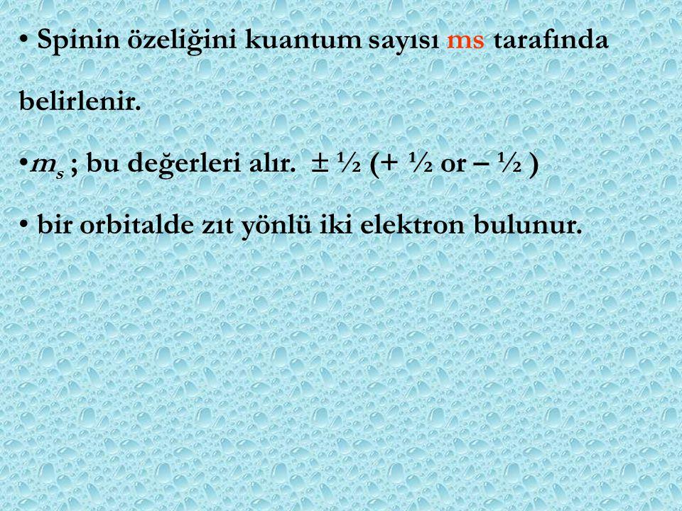 Spinin özeliğini kuantum sayısı ms tarafında belirlenir. m s ; bu değerleri alır.  ½ (+ ½ or – ½ ) bir orbitalde zıt yönlü iki elektron bulunur.