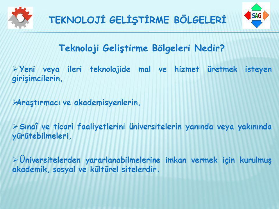 Teknoloji Geliştirme Bölgeleri Nedir?  Yeni veya ileri teknolojide mal ve hizmet üretmek isteyen girişimcilerin,  Araştırmacı ve akademisyenlerin, 