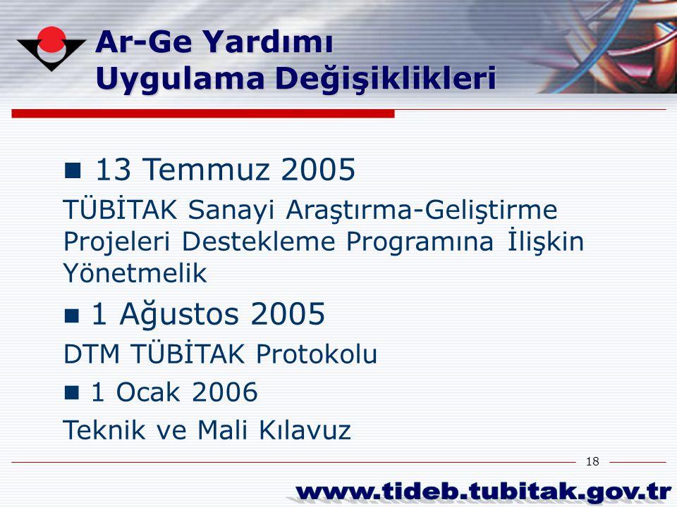 18 13 Temmuz 2005 TÜBİTAK Sanayi Araştırma-Geliştirme Projeleri Destekleme Programına İlişkin Yönetmelik 1 Ağustos 2005 DTM TÜBİTAK Protokolu 1 Ocak 2