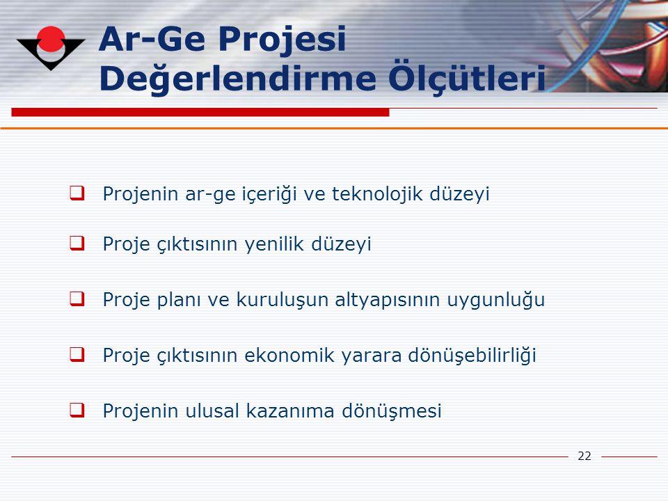 22 Ar-Ge Projesi Değerlendirme Ölçütleri  Projenin ar-ge içeriği ve teknolojik düzeyi  Proje çıktısının yenilik düzeyi  Proje planı ve kuruluşun al