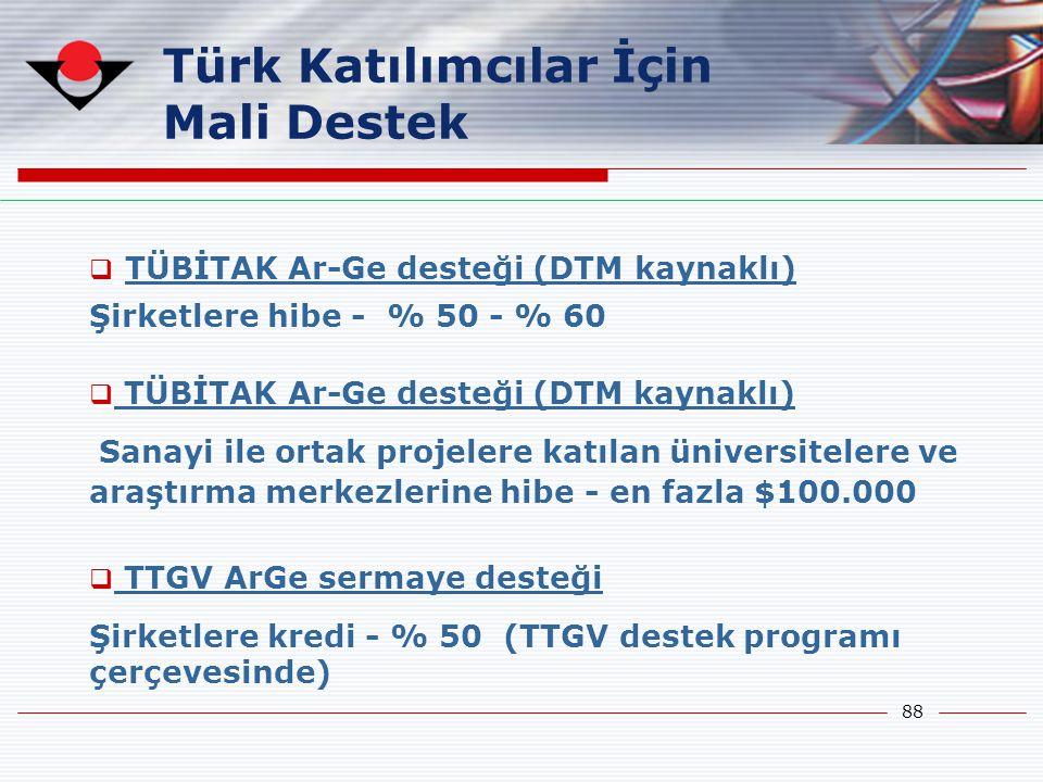 88 Türk Katılımcılar İçin Mali Destek  TÜBİTAK Ar-Ge desteği (DTM kaynaklı) Şirketlere hibe - % 50 - % 60  TÜBİTAK Ar-Ge desteği (DTM kaynaklı) Sana