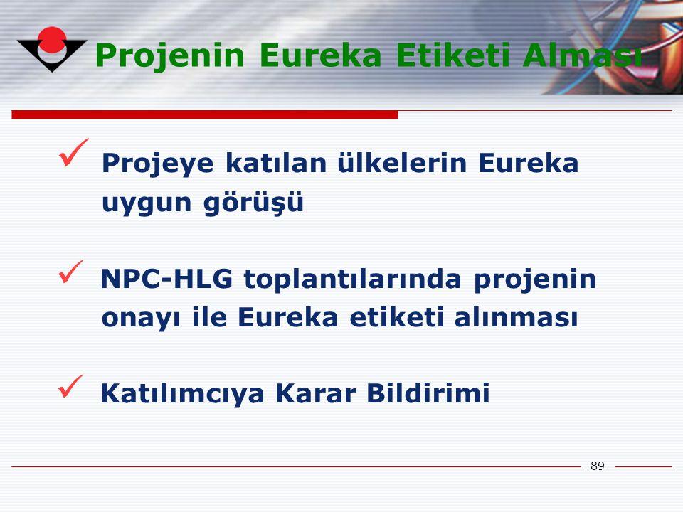 89 Projenin Eureka Etiketi Alması Projeye katılan ülkelerin Eureka uygun görüşü NPC-HLG toplantılarında projenin onayı ile Eureka etiketi alınması Kat