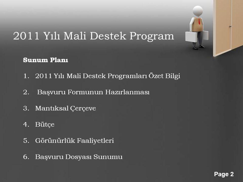 Powerpoint Templates Page 2 2011 Yılı Mali Destek Program Sunum Planı 1.2011 Yılı Mali Destek Programları Özet Bilgi 2. Başvuru Formunun Hazırlanması