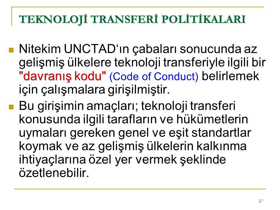 37 TEKNOLOJİ TRANSFERİ POLİTİKALARI
