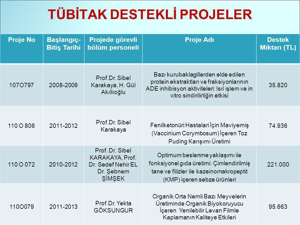 TÜBİTAK DESTEKLİ PROJELER Proje NoBaşlangıç- Bitiş Tarihi Projede görevli bölüm personeli Proje AdıDestek Miktarı (TL) 107O7972008-2009 Prof.Dr.