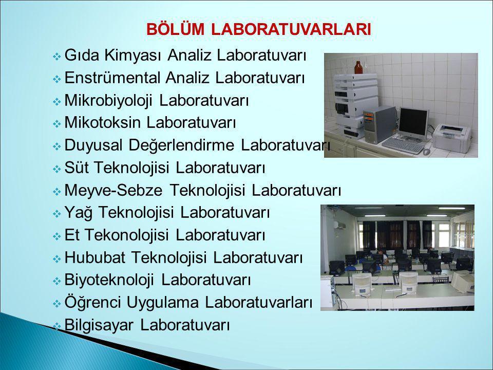  Gıda Kimyası Analiz Laboratuvarı  Enstrümental Analiz Laboratuvarı  Mikrobiyoloji Laboratuvarı  Mikotoksin Laboratuvarı  Duyusal Değerlendirme Laboratuvarı  Süt Teknolojisi Laboratuvarı  Meyve-Sebze Teknolojisi Laboratuvarı  Yağ Teknolojisi Laboratuvarı  Et Tekonolojisi Laboratuvarı  Hububat Teknolojisi Laboratuvarı  Biyoteknoloji Laboratuvarı  Öğrenci Uygulama Laboratuvarları  Bilgisayar Laboratuvarı BÖLÜM LABORATUVARLARI