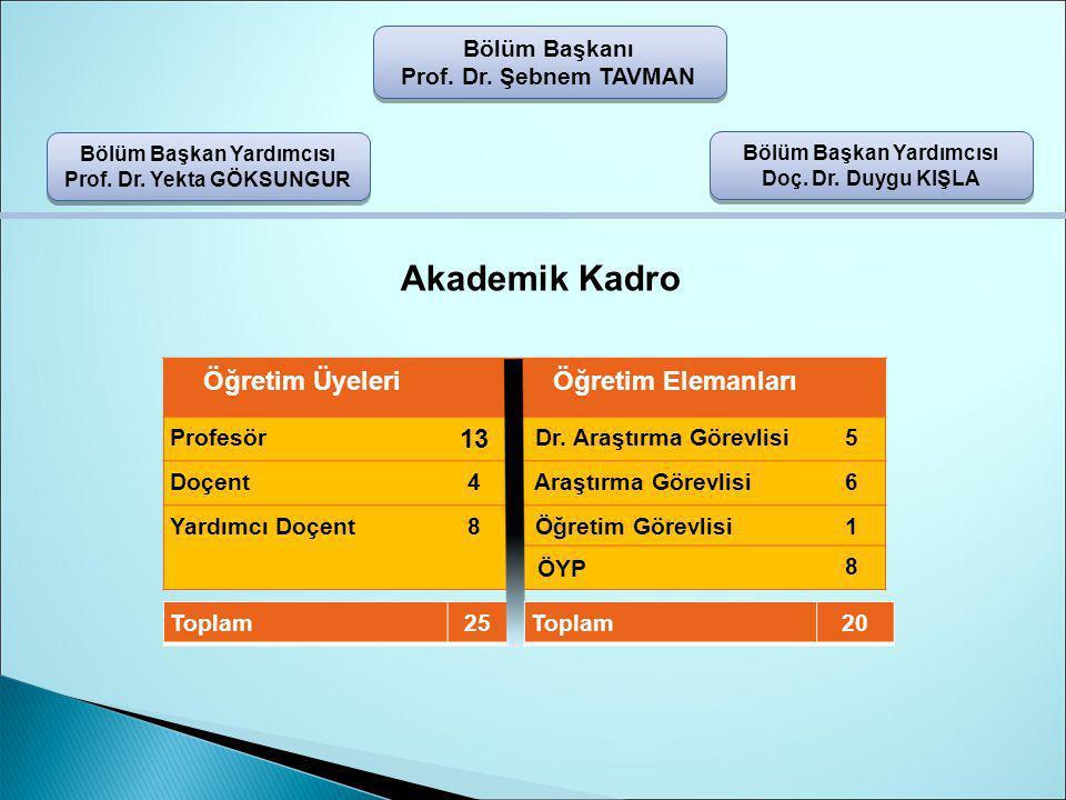 Bölüm Başkanı Prof.Dr. Şebnem TAVMAN Bölüm Başkan Yardımcısı Doç.