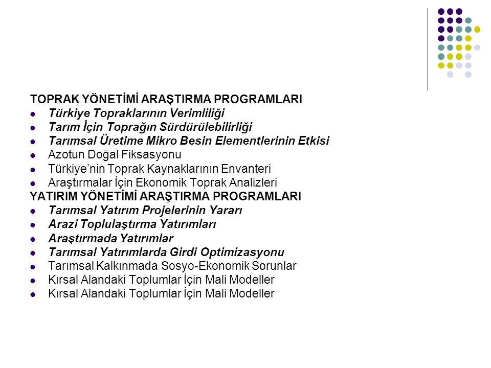 TOPRAK YÖNETİMİ ARAŞTIRMA PROGRAMLARI Türkiye Topraklarının Verimliliği Tarım İçin Toprağın Sürdürülebilirliği Tarımsal Üretime Mikro Besin Elementler