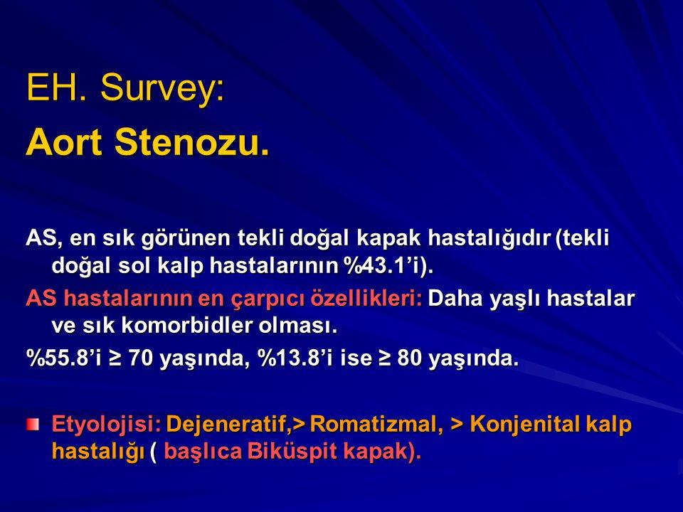 EH. Survey: Aort Stenozu. AS, en sık görünen tekli doğal kapak hastalığıdır (tekli doğal sol kalp hastalarının %43.1'i). AS hastalarının en çarpıcı öz