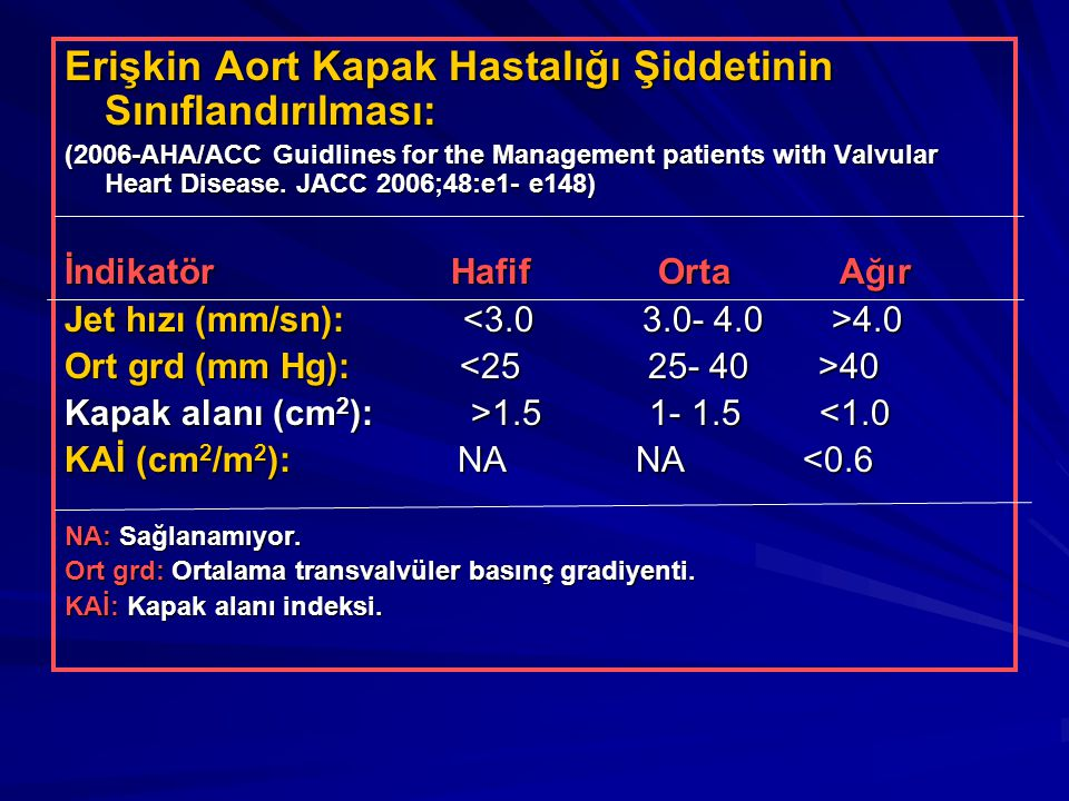 Erişkin Aort Kapak Hastalığı Şiddetinin Sınıflandırılması: (2006-AHA/ACC Guidlines for the Management patients with Valvular Heart Disease. JACC 2006;