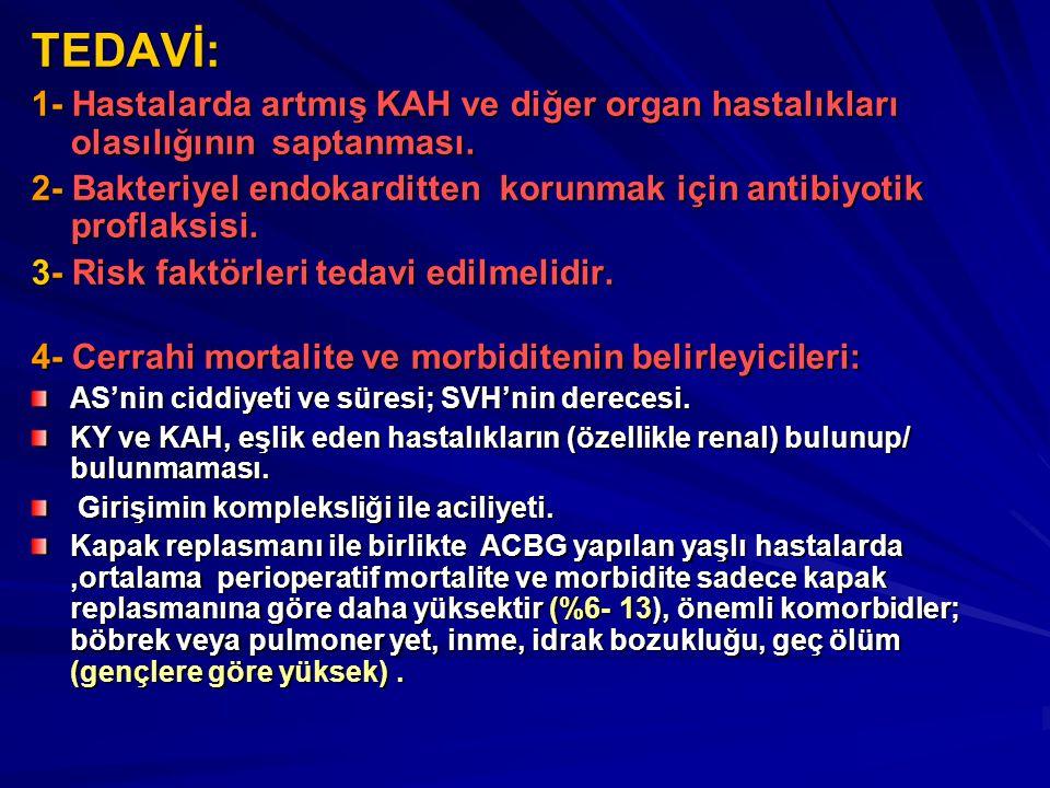 TEDAVİ: 1- Hastalarda artmış KAH ve diğer organ hastalıkları olasılığının saptanması. 2- Bakteriyel endokarditten korunmak için antibiyotik proflaksis