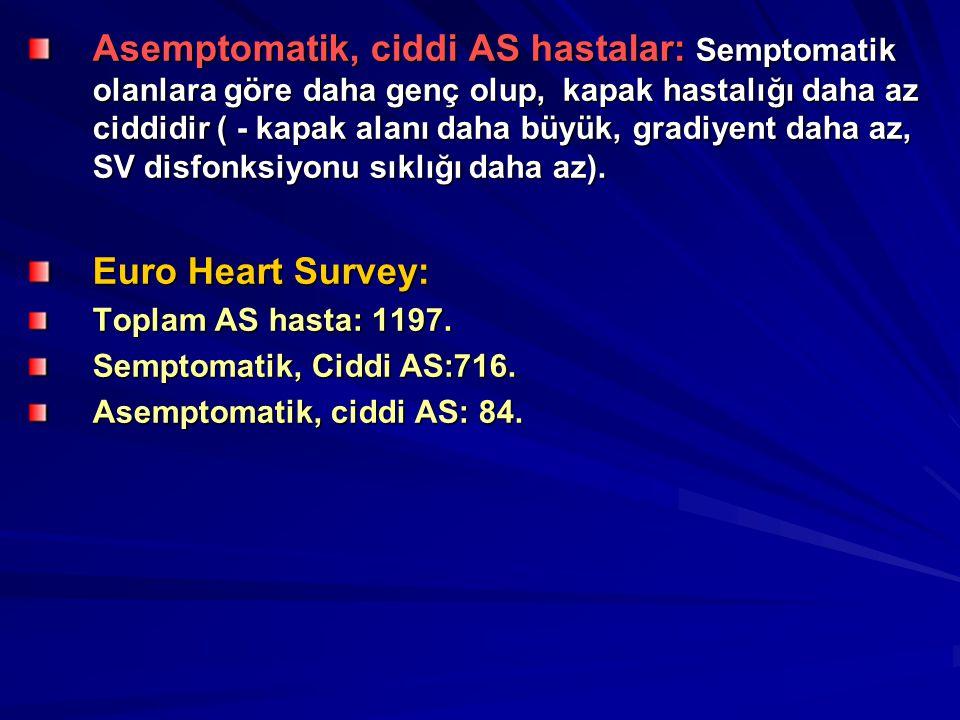 Asemptomatik, ciddi AS hastalar: Semptomatik olanlara göre daha genç olup, kapak hastalığı daha az ciddidir ( - kapak alanı daha büyük, gradiyent daha