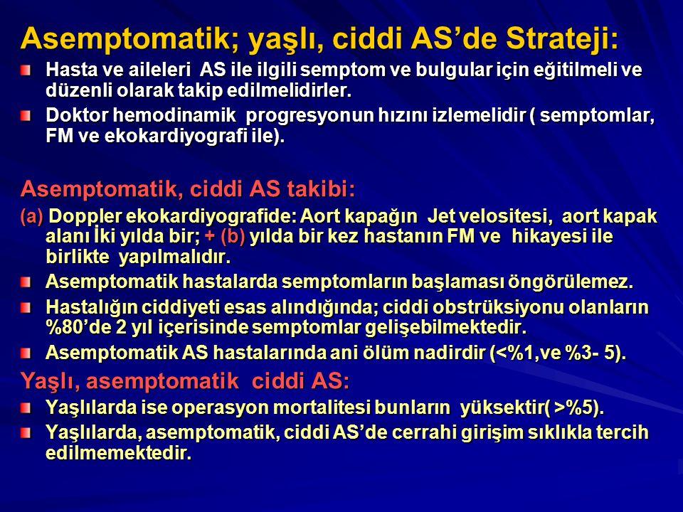 Asemptomatik; yaşlı, ciddi AS'de Strateji: Hasta ve aileleri AS ile ilgili semptom ve bulgular için eğitilmeli ve düzenli olarak takip edilmelidirler.
