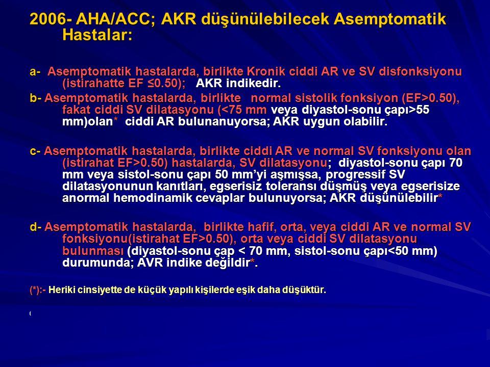 2006- AHA/ACC; AKR düşünülebilecek Asemptomatik Hastalar: a- Asemptomatik hastalarda, birlikte Kronik ciddi AR ve SV disfonksiyonu (istirahatte EF ≤0.