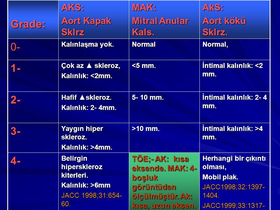 Grade:AKS: Aort Kapak Sklrz MAK: Mitral Anular Kals. AkS: Aort kökü Sklrz. 0- Kalınlaşma yok. NormalNormal, 1- Çok az ▲ skleroz, Kalınlık: <2mm. <5 mm