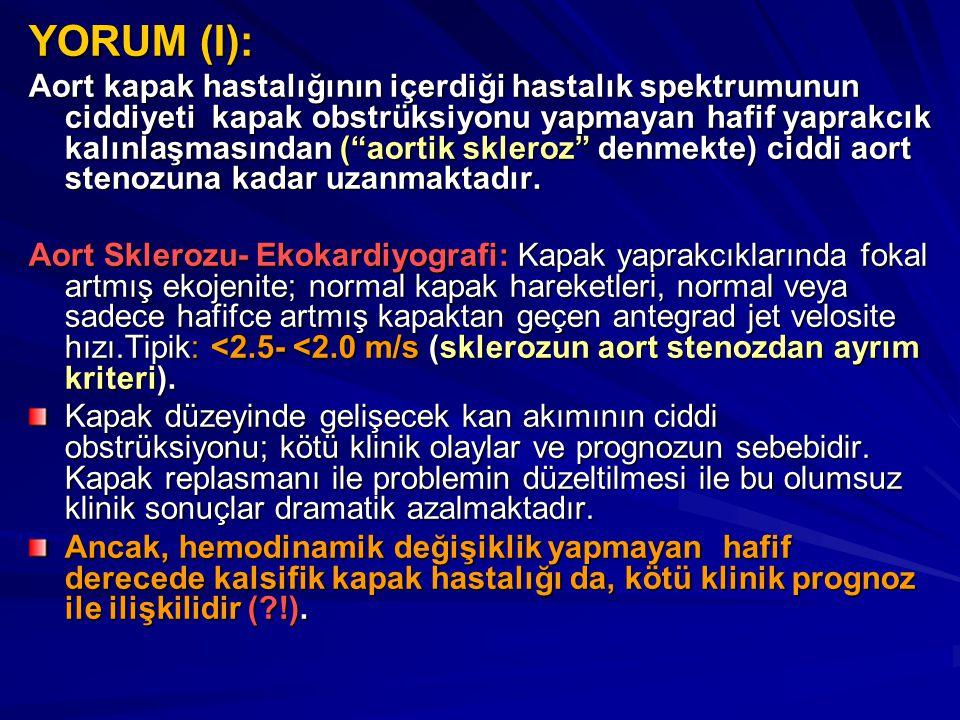 """YORUM (I): Aort kapak hastalığının içerdiği hastalık spektrumunun ciddiyeti kapak obstrüksiyonu yapmayan hafif yaprakcık kalınlaşmasından (""""aortik skl"""
