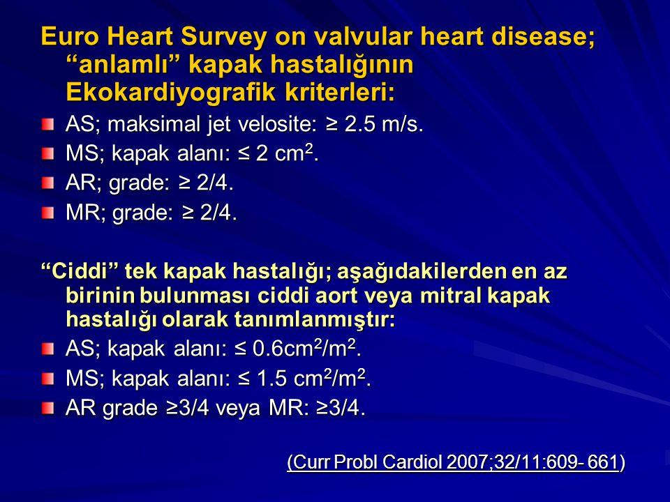 """Euro Heart Survey on valvular heart disease; """"anlamlı"""" kapak hastalığının Ekokardiyografik kriterleri: AS; maksimal jet velosite: ≥ 2.5 m/s. MS; kapak"""