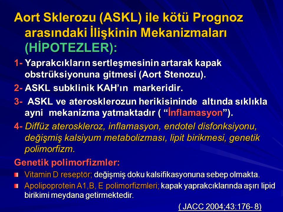 Aort Sklerozu (ASKL) ile kötü Prognoz arasındaki İlişkinin Mekanizmaları (HİPOTEZLER): 1- Yaprakcıkların sertleşmesinin artarak kapak obstrüksiyonuna