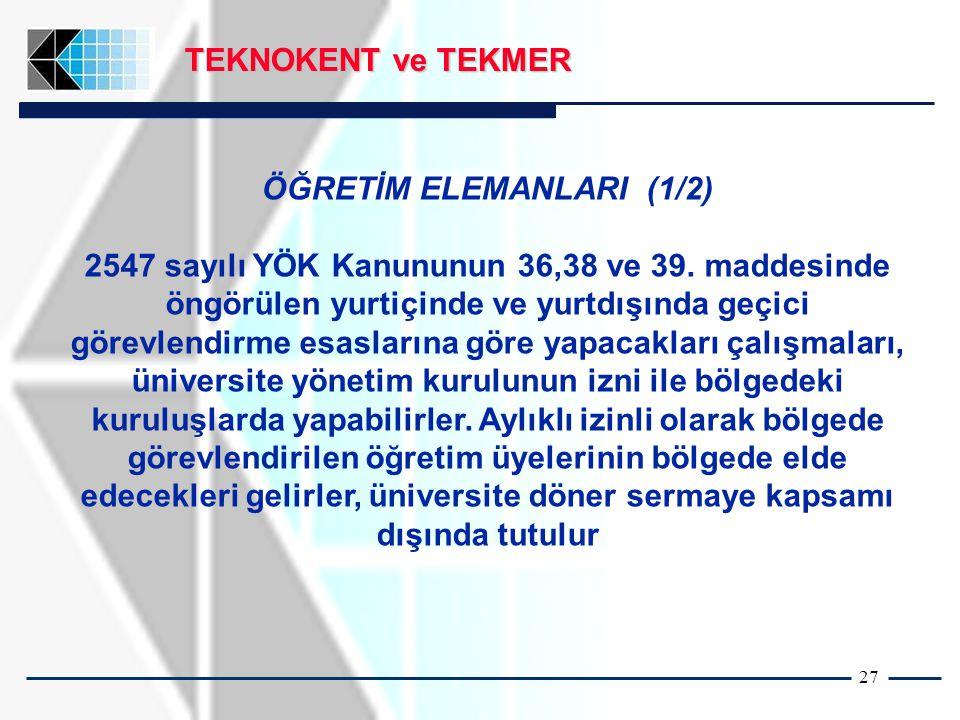 27 TEKNOKENT ve TEKMER ÖĞRETİM ELEMANLARI (1/2) 2547 sayılı YÖK Kanununun 36,38 ve 39.