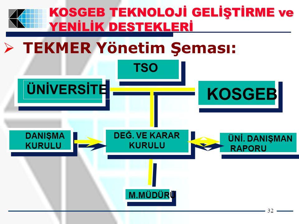 32   TEKMER Yönetim Şeması: DEĞ. VE KARAR KURULU DANIŞMA KURULU ÜNİ.